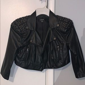 BEBE cropped leather jacket with studs